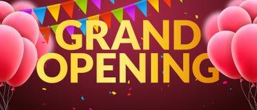 Baner för inbjudan för händelse för storslagen öppning med ballonger och konfettier Guld- design för mall för affisch för storsla vektor illustrationer