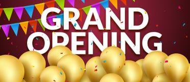 Baner för inbjudan för händelse för storslagen öppning med guld- ballonger och konfettier För affischmall för storslagen öppning  royaltyfri illustrationer