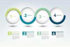 Baner för Infographic vektoralternativ med 4 moment Färgsfärer, bollar, bubblar Royaltyfria Bilder
