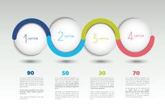 Baner för Infographic vektoralternativ med 4 moment Färgsfärer, bollar, bubblar Arkivfoto