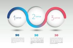 Baner för Infographic vektoralternativ med 3 moment Färgsfärer, bollar, bubblar Arkivbild