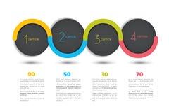 Baner för Infographic vektoralternativ med 4 moment Färgsfärer, bollar, bubblar Royaltyfri Fotografi