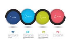 Baner för Infographic vektoralternativ med 4 moment Färgsfärer, bollar, bubblar Arkivbild