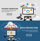 Baner för internetmarknadsföring och dataskydd Arkivfoton