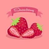 Baner för jordgubbeskivafrukt Royaltyfri Fotografi