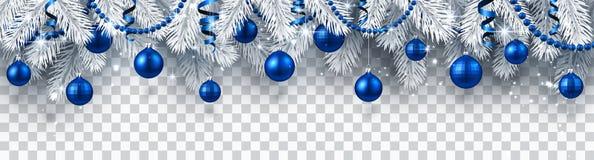 Baner för jul och för nytt år med granfilialer och blåa Christm vektor illustrationer