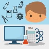 Baner för kemikalie för laboratorium för PC för skola för tecknad filmpojkeelev stock illustrationer