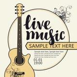 Baner för konsert av levande musik med gitarren Royaltyfri Fotografi