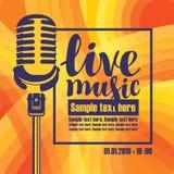 Baner för konsert av levande musik med mikrofonen Arkivbilder