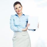 Baner för kvinnahållvitbok över vit bakgrund Arkivbild