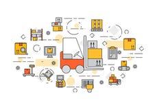 Baner för lagring och leverans stock illustrationer