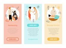 Baner för lodlinje för folk för skönhetSpa salong stock illustrationer