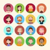 Baner för lopp för blandning för tillfällig folkmassa för folk för grupp för bild för profilsymbolsAvatar stor olikt etniskt Arkivfoto
