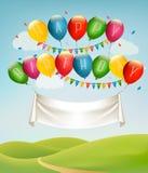 Baner för lycklig födelsedag med ballonger och landskap Arkivbild