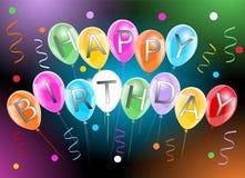 Baner för lycklig födelsedag med färgrika ballongbanderoller och konfettier stock illustrationer