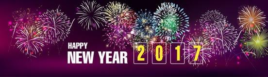 Baner 2017 för lyckligt nytt år vektor illustrationer
