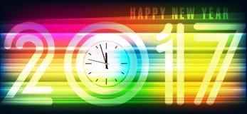 Baner 2017 för lyckligt nytt år stock illustrationer