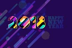 Baner 2018 för lyckligt nytt år Flerfärgade nummer med dynamisk textur för rörelse på mörker - blå bakgrund royaltyfri illustrationer