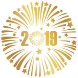 Baner 2019 för lyckligt nytt år med fyrverkerier royaltyfri illustrationer