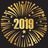 Baner 2019 för lyckligt nytt år med fyrverkerier stock illustrationer