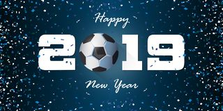 Baner 2019 för lyckligt nytt år med pappers- konfettier på blå bakgrund Banerdesignmall för garnering för nytt år stock illustrationer