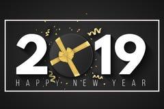 Baner 2019 för lyckligt nytt år Svart gåvaask med ett guld- band och en pilbåge i en ram på en svart bakgrund Guld- konfettier me royaltyfri illustrationer
