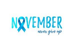 Baner för månad för medvetenhet för November prostatacancer med det blåa realistiska bandet vektor illustrationer
