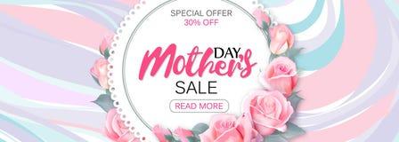 Baner för malldesignförsäljning för lycklig dag för moder` s Horisontalaffisch för special försäljning för dag för moder` s med m royaltyfri illustrationer