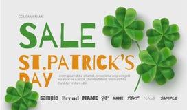 Baner för malldesignförsäljningar på Sts Patrick dag stock illustrationer