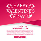Baner för malldesignvalentin Den lyckliga broschyren för dagen för valentin` s med garneringrosa färger tejpar till salu Romantis stock illustrationer