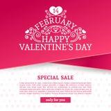 Baner för malldesignvalentin Den lyckliga broschyren för dagen för valentin` s med garneringrosa färger tejpar till salu Romantis royaltyfri illustrationer