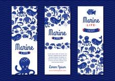 Baner för marin- liv royaltyfri illustrationer