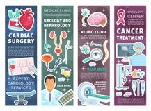 Baner för medicinsk klinik med doktorer och instrumentet stock illustrationer