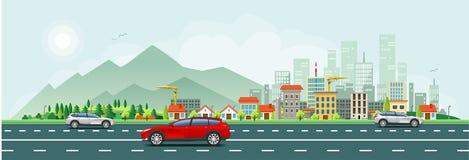 Baner för modernt liv och för stads- trafik stock illustrationer