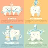 Baner för muntlig hygien med den gulliga tanden vektor illustrationer