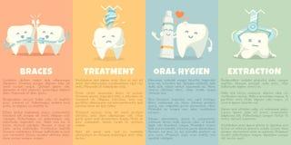 Baner för muntlig hygien med den gulliga tanden royaltyfri illustrationer