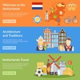 Baner för Nederländernalopplägenhet royaltyfri illustrationer