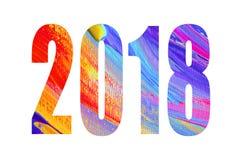 baner för nytt år 2018 För garneringaffisch för lyckligt nytt år kort 2018 Abstrakt färgrik affisch Fotografering för Bildbyråer