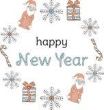 Baner för nytt år Santa Clauses snöflingor, gåvor, godisrottingar runt om inskriften på en vit bakgrund stock illustrationer