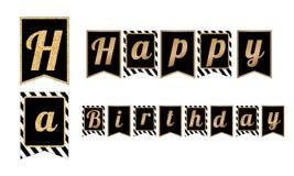 Baner för parti för lycklig födelsedag Flaggor med bandmodellen Royaltyfri Bild