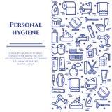 Baner för personlig hygien med linjen symboler med den redigerbara slaglängden i form av den vertikala rektangeln stock illustrationer