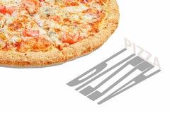 Baner för pizzapopkonst som annonserar begrepp fotografering för bildbyråer