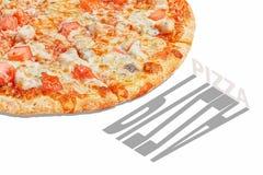 Baner för pizzapopkonst som annonserar begrepp royaltyfria bilder