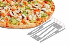 Baner för pizzapopkonst som annonserar begrepp royaltyfri bild
