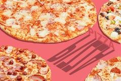 Baner för pizzapopkonst som annonserar begrepp arkivbild