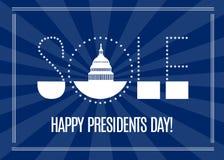 Baner för presidentdagförsäljning med det vita huset för Washington DC vektor Vektor Illustrationer