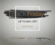 Baner för rabatt för vektor för Black Friday tbtförsäljning för hipsterhändelse Bruna vita svarta färgstänk av färgpulver med vat royaltyfri foto