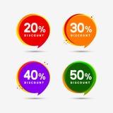 Baner för rabatterat prisförsäljningsbubbla Prislappetikett För lägenhetbefordran för specialt erbjudande design för tecken royaltyfri illustrationer