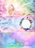 3 baner för x-regnbågeCrystal Healing website royaltyfri foto