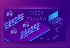 Baner för rengöringsduk för Cybermåndag försäljning tekniskt Isometrisk vektor royaltyfri illustrationer